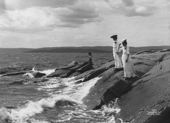 Wilse: Kystparti med bølger 3/7 1904